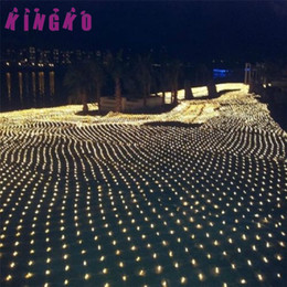 Wholesale String Lights Mesh - Wholesale- Kingko outdoor Lighting 1.5Mx1.5M 96LED String Fairy Lights Net Mesh Curtain Chrismas Wedding Party Light u7112 DROP SHIP