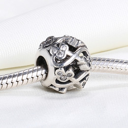 Wholesale Pandora Mouse - Real 925 Sterling Silver Not Plated Michey Mouse INFINITE LOVE OPENWORK European Charms Beads Fit Pandora Snake Chain Bracelet DIY Jewelry
