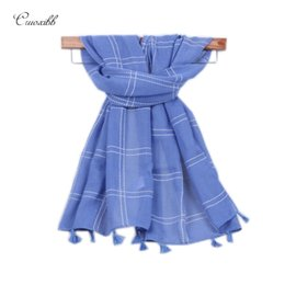 Wholesale new style hijab scarf - Wholesale- Children Scarf Autumn Winter Warm Hijab Foulard New Style Designer Kids boys girls white lattice Scarves cotton Tassels shawls