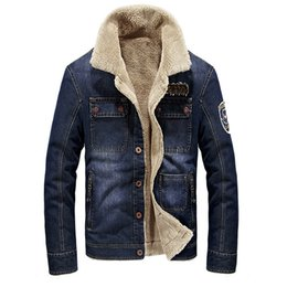 Wholesale Denim Jacket Men Thick Fur - DIMUSI Winter Men Jacket Fashion Men Denim jacket fur collar Thick Warm Jacket Coats Male Windbreaker Jeans Jackets 4XL,YA715