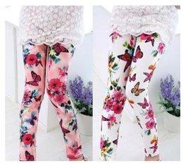 Wholesale Flower Print Leggings Girls - 2017 Fashion Baby Girls Printing Flower Ninth Pants Tight Toddler Leggings