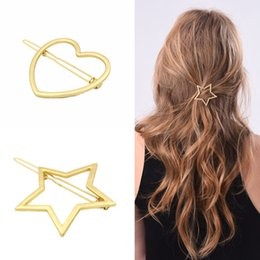 Wholesale Metal Clips China - Vintage Gold Silver Tone Metal Heart Star Large Statement Hair Clip Hairpins