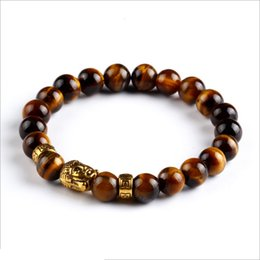 Wholesale Wholesale Yoga Jewelry - Wholesale-Natural Stone Bracelets Round Lava Bead Gold Buddha Nomination Yoga Braclet Fashion Elastic Men Jewelry Women Accessories
