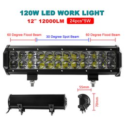 Wholesale Trucks Bar Lights - HOT! 12 Inch 120W 24pcs x 5W LED Flood Spot Combo Beam Work Light Bar Offroad Driving Waterproof 4WD Truck ATV CLT_40X