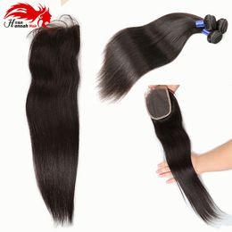Wholesale Wholesale Virgin Hair For Sale - Hannah product Hot Sale 4Pcs LOT 1 Piece Silk Base Closure With Hair Bundles 3Pcs Human Virgin Hair Weft With Closure For Full Head Straight
