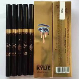 Wholesale Gold Eye Pencil - Kylie Birthday Edition Waterproof Gold Eye Brow Eyeliner Eyebrow Pen Pencil with Brush Makeup Cosmetic Design Tool 5 Colors DHL Free