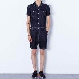 Wholesale Plus Size Harem Shorts - Wholesale-2016 summer new men denim shorts rompers harem shorts men zipper fashion casual jeans jumpsuits slim fit shorts overalls A202