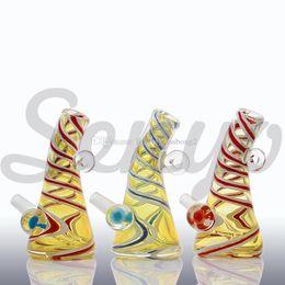 Wholesale Glass Swirl - 2017 mini heady Glass Diamond with Circles Swirls Glass Bong water pipes oil rigs free shipping