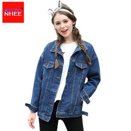 618d4a2962803 Wholesale- Long Sleeve Boyfriend denim jacket Women spring and autumn  female Jean jacket long Coat Plus Size spring jackets for women