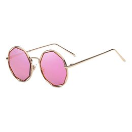 Wholesale Polygon Mirror - Polygon sunglasses ladies vintage small round Sun glasses for men Mirror glasses lunette metal frame Hollow Octagon Women Fashion sunglasses