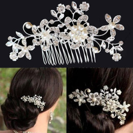 Wholesale women hair comb - chic wedding Crystal pearl rhinestone flower hair comb hair accessories for women girls,charm bridal headpiece hair jewelry