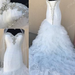 Wholesale Designer Shirts Images - Mermaid Wedding Dresses 2017 Designer with Free Veil and Lace Up Back Real Images Ruffles Vestido de noiva with Long Train