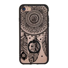 Wholesale Pink Lace Iphone Case - hot sale phone case ultra thin ring stand lace 3d embossed dream catcher printing crystal hard case for iphone 7 6 4.7