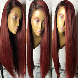 Wholesale 99j human hair lace wig - Full Lace Human Hair Wig Ombre T1b 99j Silky Straight Pre-plucked 360 Lace Wig Brazilian Virgin Hair With Baby Hair Lace Front Wig