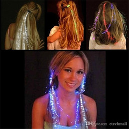 Wholesale Braid Hair Kids - Luminous Light Up LED Hair Extension Flash Braid Party girl Hair Glow by fiber optic For Party Christmas Halloween Night Lights Decoration