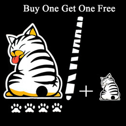 Wholesale Wholesale Window Wipers - High Quality Reflective Car Stickers Cartoon Funny Moving Tail Cat Stickers Car Styling Window Wiper Decals Rear Windshield Sticker