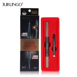 Wholesale refill brush - Wholesale- 2 PCS set Eyebrow Pencil Automatic Refill Eyebrows Natural Eye Brow Pen Waterproof Makeup Brush Tool Cosmetics JURLINGO Brand