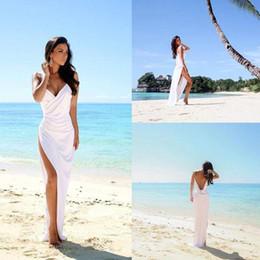 Wholesale Thigh High Models - 2018 Simple Sexy High Slits Mermaid Wedding Gowns V-Neck Spaghetti Straps With Pleats Backless Wedding Dresses Vestido De Novia