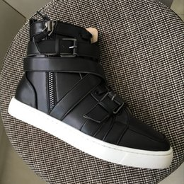 Wholesale Sneakers Belts - New 2017 mens womens black genuine leather with cross belt zip high top sneakers,design red bottom causal shoes 36-46 drop shipping