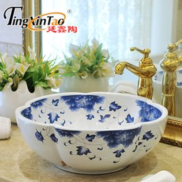 Wholesale Hand Painted Wash Basin - blue and white Europe Style Count China Artisticporcelain wash basin bathroom sinks ceramic art flower vessel sink