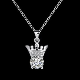 Wholesale Cheap Sterling Silver Crown - Hot sale crown shape Pendant necklace white gemstone sterling silver necklace statement necklaces cheap factory jewelry for free shipping