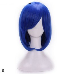 Wholesale black purple short wig - Women synthetic wig cosplay hair heat resistant blonde red blue purple straight short bob wigs with bangs black