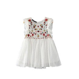 Wholesale Ladies White Ruffled Blouses - sweet floral embroidery pleated ruffled shirt cute sleeveless vintage doll blouse ladies summer casual tops