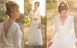 Wholesale Empire Waist Trumpet - Simple Long Sleeve Boho Wedding Dresses Deep V Neck Empire Waist Open Back 2017 Beautiful Country Rustic Wedding Dresses For Pregnant Women