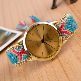 Wholesale Geneva Watches Colors - Ladies Women Geneva Weave Dress Watch Handmade Braided Hand-Woven watches fashion Bracelet Quartz Rope Watch Wholesale 13 Colors