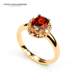 Wholesale Red Gemstone Rings - Beautiful!!! Rose Gold Color Austrian Crystal Red Ruby Gemstone Erstwhile Memory Design Lady Finger Ring Wholesale