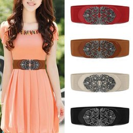 Wholesale Waist Belts For Dresses - 2017 New Vintage Style Buckle Wide Waistband Waist Belt Nylon Elastic Stretch For Fashion Women Dress Party