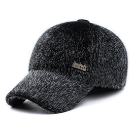 Wholesale Fur Ear Flap Hats - Wholesale- New Men's Winter Warm Faux  Baseball Cap Male Thick Thermal Caps for Dad Caps Drake Hats with Ears Flaps Thermal Cap