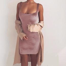 Wholesale Short Sexy Slip Dresses - Wholesale- Ciysty 2017 Sexy Sleeveless Backless Strap Velvet Dress Women Casual Mini Wrap Bodycon Dress Ladies Satin Slip Short Dresses