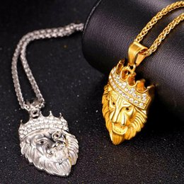 Wholesale Silver Lion Pendants - Fashion hot selling European and American cool hip hop jewelry Hiphop crown lion diamond necklace pendant Gold Silver Men's fine gift