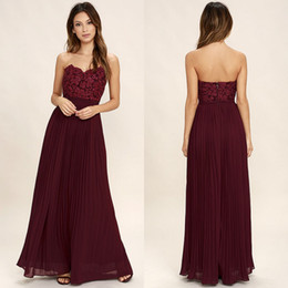Wholesale Lace Wedding Dresses Open Back Strapless - 2018 Cheap Bridesmaid Dresses Burgundy Sweetheart A Line Chiffon Strapless Wrinkle Skirt Open Back Wedding Maid Of Honor Prom Gowns