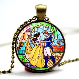 Wholesale Wholesale Glass Necklaces - 10pcs lot Beauty and the Beast necklace, Flowers Rose pendant necklace, glass cabochon necklace