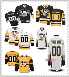 Wholesale Blue Penguin - Personalized Pittsburgh Penguins Hockey Jersey Men's stitched Any name Any Number white yellow Black stitch High quality Ice hockey Jerseys