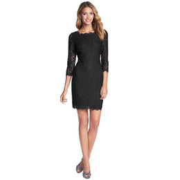 Wholesale Bodycon Dress Wholesale - New Fashion Women Dress Sexy Bodycon Sheath 3 4 Sleeve Full Zip Back Hot Selling Short Lace Dresses 2017 S-XXXL