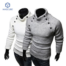 Wholesale Men S Double Breasted Sweaters - Wholesale- Men Sweaters Retro Decorative Buttons Male Solid Color High-necked Collar Sweater Warm Casual Dress Casual Premium Stylish