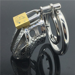 Wholesale Dragon Penis Sleeve - Dragon Totem Male Chastity Device Special Belt Stainless Steel Penis Sleeve bdsm fetish Metal Adult Game Cock Cage ring MKC016