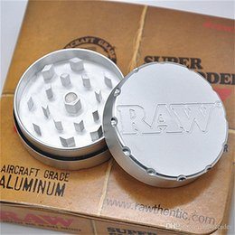 Wholesale Raw Tobacco - RAW Grinders Metal Smoking Grinders for Tobacco Dry Herbs Match Glass Hand Pipe Hookahs 47mm*47mm RAW Colored with Box Father's Day Gift