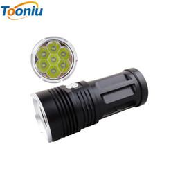 Wholesale T6 Led 7x - LED flashlight MI-7 10000 lumen Camp Hunting Torch 7x Cree XM-L T6 tactical Lantern suitable 4x18650 battery