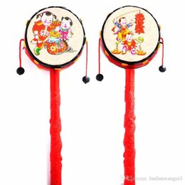 traditional baby rattles Australia - Baby Kids Cartoon Hand Bell Toy Wooden Rattle Drum Musical Instrument Chinese Traditional Rattle Drum Spin Toys For Baby