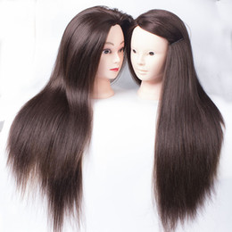 Wholesale Mannequin Skins - Free Shipping 22'' Head Mannequin Skin Female Mannequin Hair Trainning Mannequin Doll Head For Makeup + Clamp