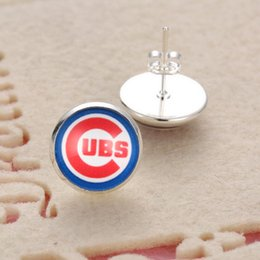 Wholesale Baseball Sports Pendants - 10Pairs MLB Chicago Cubs Sports Team Jewelry Stud Pendant Earrings For Women Jewelry Earrings Gift Baseball