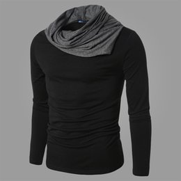 Wholesale Stylish Tshirts - Wholesale- 2016 New arrival autumn fashion Unique neckline men t shirt camisa masculina long sleeve man tshirts stylish male shirts B95