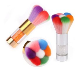 Wholesale Wholesale Nail Brushes - D163 New Arrival Manicure Cleaning Dust Brush Mix Color Rhinestone With Metal Handle Eco-Friendly Petaloid Nail Brush