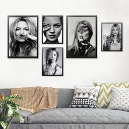 Wholesale Personalized Picture Canvas - Black White Girl Wall Art Canvas Painting Posters And Print Personalized Wall Print Wall Pictures Cuadros No Poster Frame HD2126