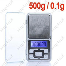Wholesale Digital Oz Scale - New Arrive 500g 0.1g Mini Electronic Digital Pocket Scale Jewelry Weighing Balance Counting Function Blue LCD g tl oz ct 80pcs Free shipping