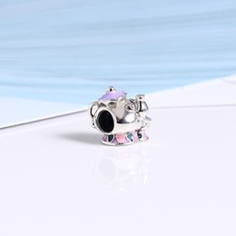 Wholesale Silver Beads Mix 925 Sterling - Real 925 Sterling Silver Mrs. Potts & Chip Charm, Mixed Enamel Fit Original Bracelet Diy Jewelry Making